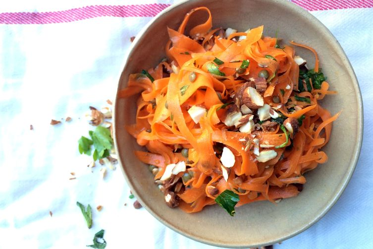Shaved Carrot Salad with Beluga Lentils and Toasted Almonds 1