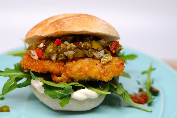 Fried Chicken and Homemade Pickle RelishSandwich 1