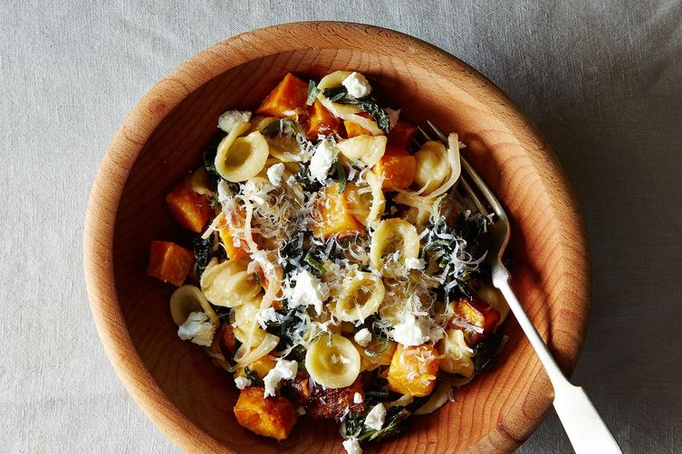 Orecchiette with Roasted Butternut Squash, Kale, and Caramelized RedOnion 1