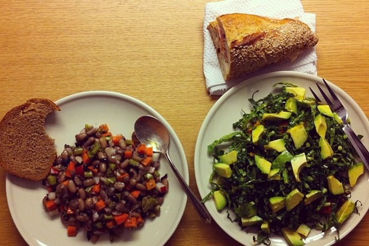 Black and White Bean Salad with Carrots, Kale Stems, and Radishes