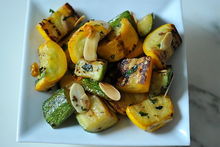 Zucchini and Summer Squash with Chili, Mint and Toasted Almonds 1