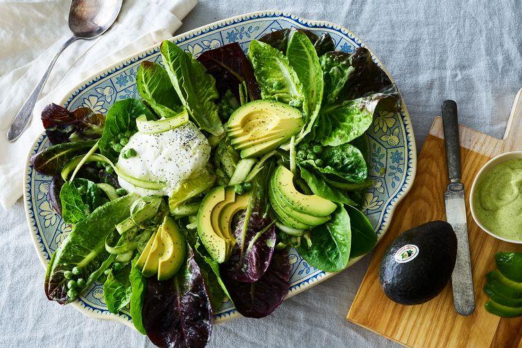 Pea, Asparagus, & Avocado Salad WithBurrata 1