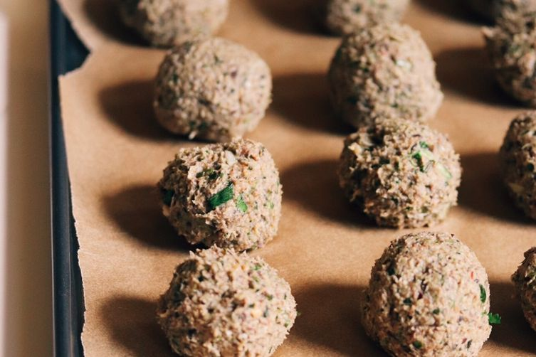 Plantain-Black Bean 'Veggie Balls' with Coconut-Cashew-Ginger Sauce