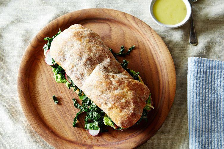 Avocado and Marinated Kale SaladSandwich