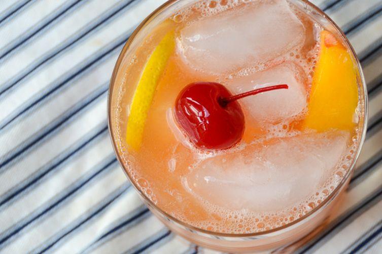 fresh peach and bourbonsour
