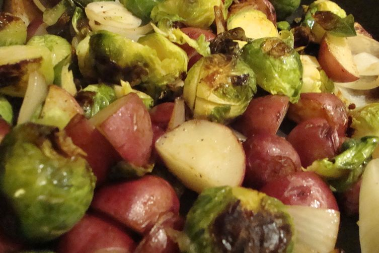 Pan-Roasted Brussels Sprouts with New Potatoes, Onions, and CrispyParmesan 1