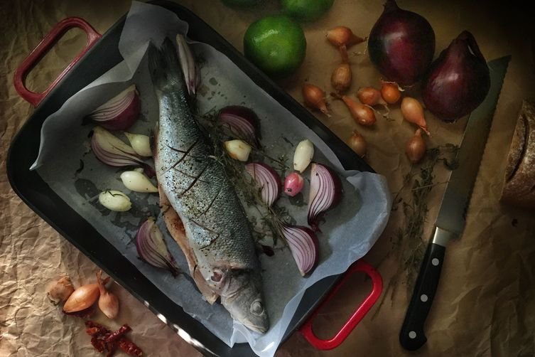 Roasted Seabass with Shallots & Red Onions 1