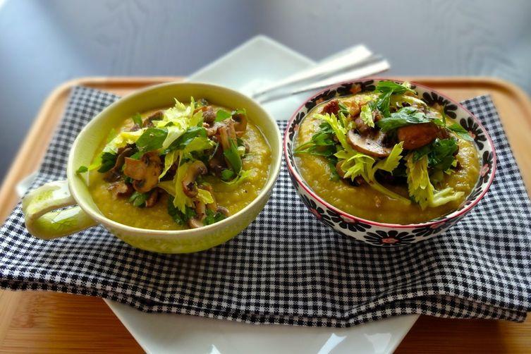 Celeriac and Potato Soup with Mushroom, Walnut, and Celery LeafSalad