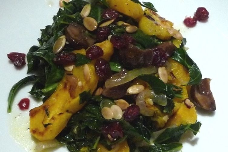 Warm Salad of Squash, Chestnuts and Collard Greens 1