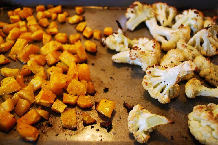 Roasted Cauliflower, Buttercup Squash, & Kale Spaghetti withPancetta