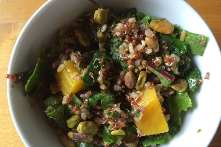 Freekeh and Quinoa Salad with Pistachios, Tender Greens and Beets