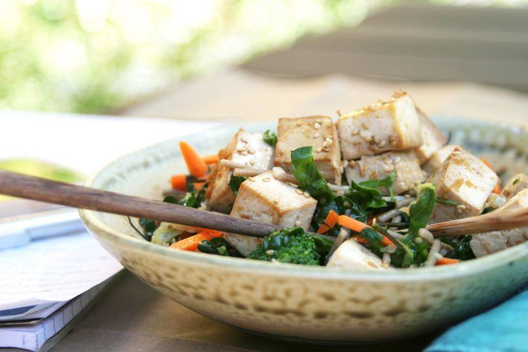 Citrus Ginger Tofu Salad with Buckwheat SobaNoodles