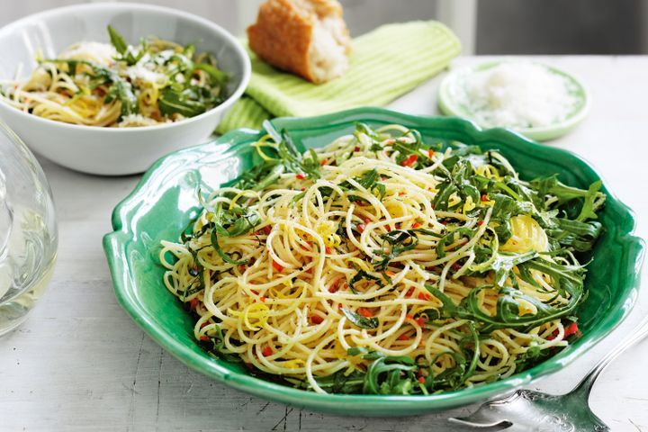 Angel hair pasta with parmesan and rocket 1