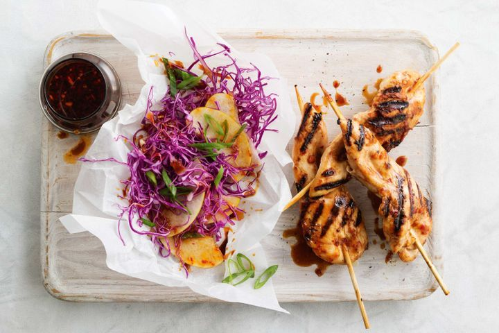 Asian chicken skewers with nashi slaw 1