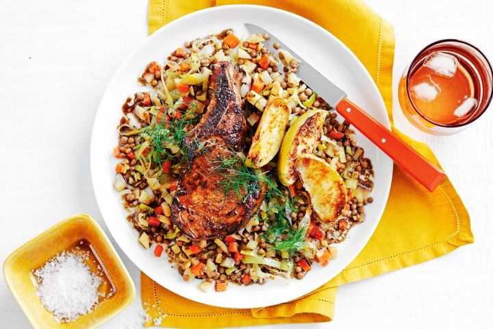 Balsamic and mustard pork with braised lentils 1