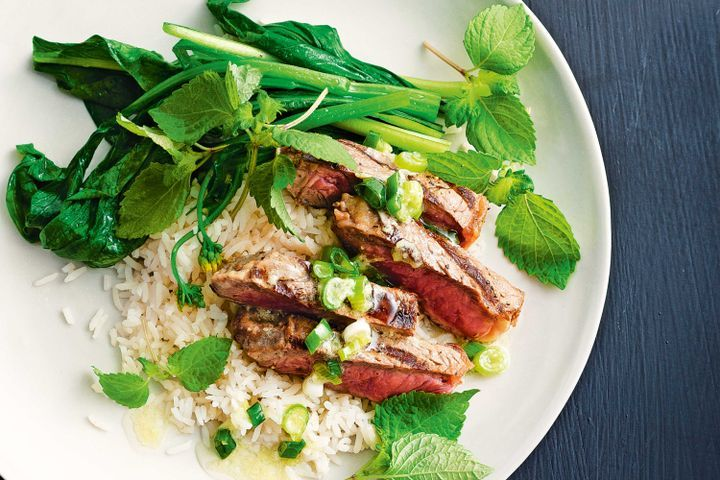 Barbecue steak with wasabi, ginger & shallot dressing 1