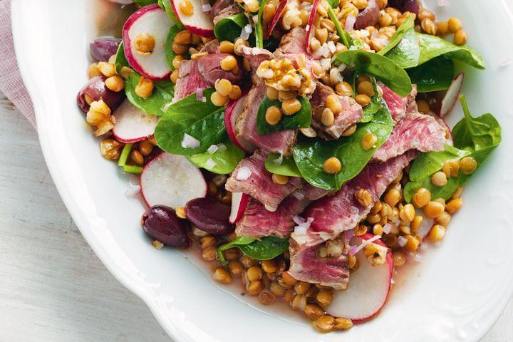Beef, lentil and walnut salad 1