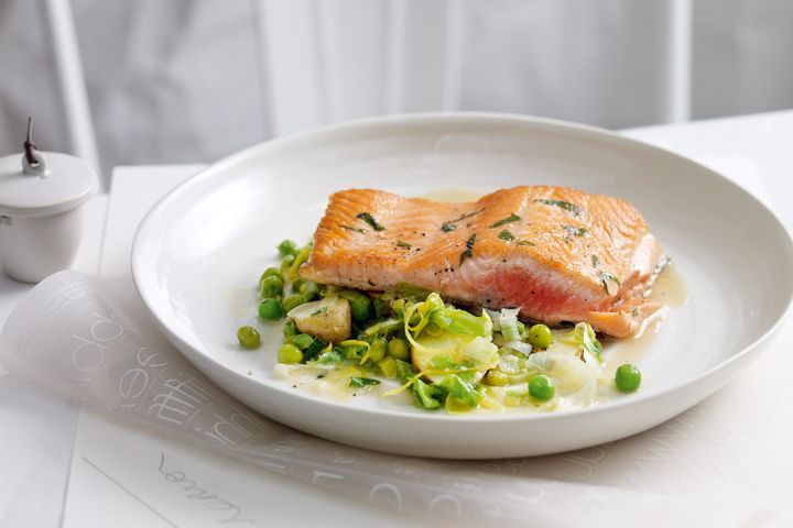 Braised peas and lettuce with tarragon ocean trout 1