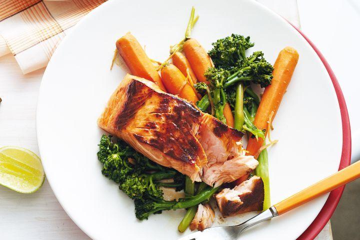 Brown sugar & lime-glazed salmon 1