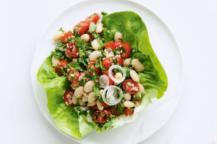 Burghul, tomato and bean salad in lettuce cups 1