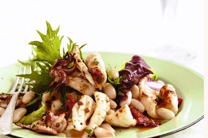 Calamari and cannellini bean salad with tomato-caper dressing 1