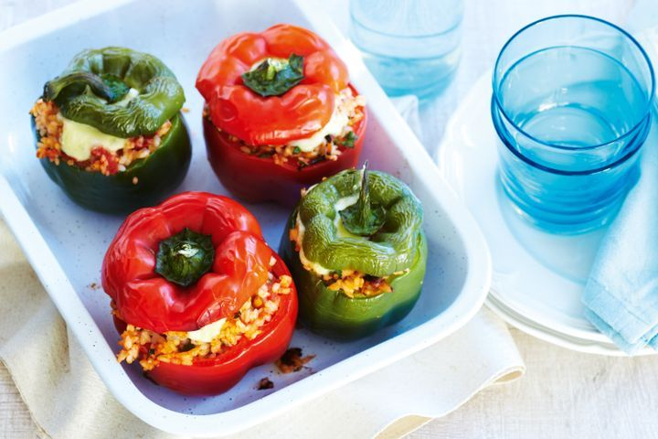 Capsicums stuffed with tomato & olive rice 1