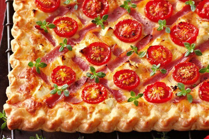 Cheese, ham and cherry tomato tart 1