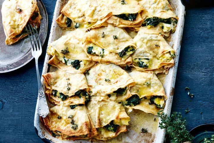 Cheesy spelt crepes stuffed with buttered leek 1
