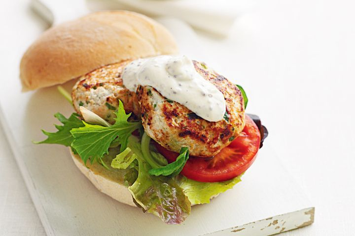 Chicken and tarragon burgers with mustard yoghurt 1