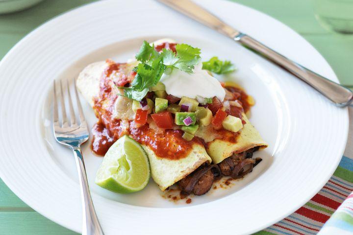 Chicken enchiladas with lime and avocado salsa 1