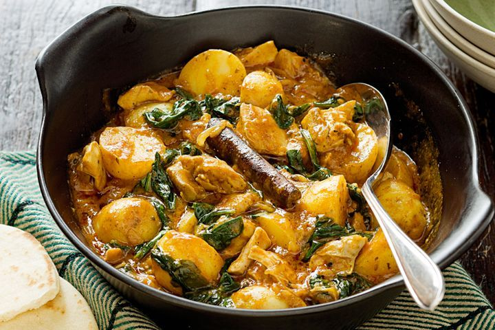 Chicken, potato and spinach curry 1