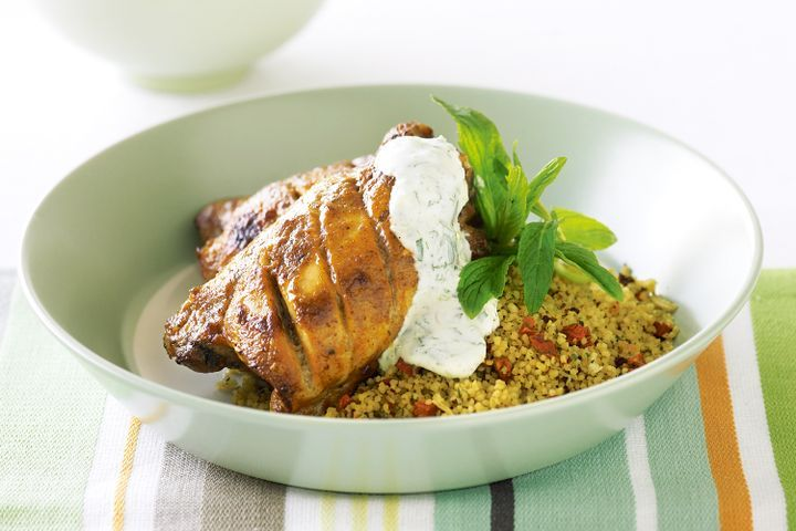 Chicken tikka with couscous and mint yoghurt 1