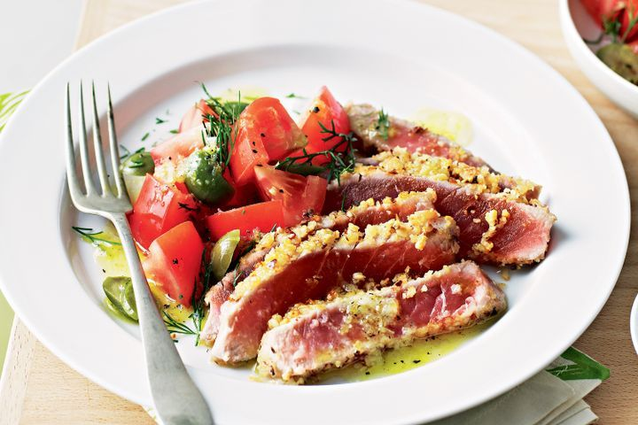 Chilli & pine nut-crusted tuna with tomato and dill salad 1