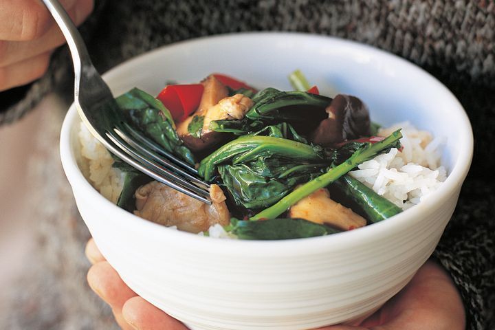 Chinese broccoli and mushroom stir-fry (vegetarian) 1