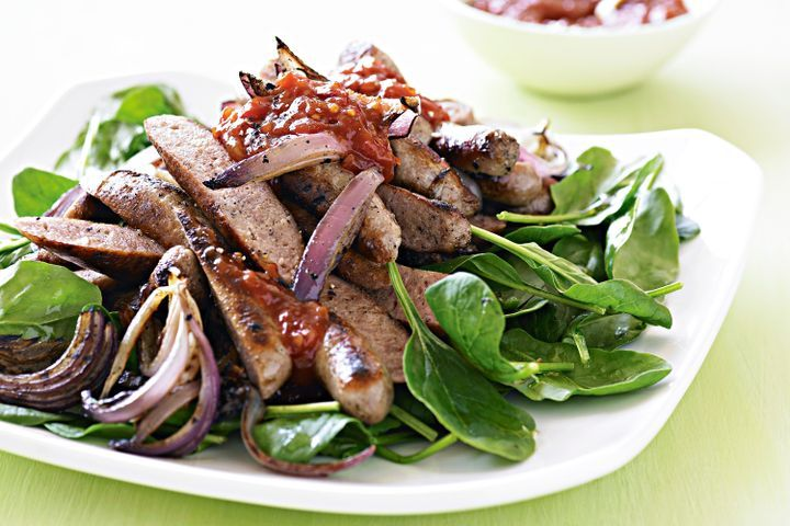 Chipolata, spinach and red onion salad 1
