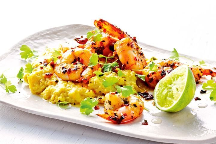 Coriander prawns with sweet corn and coconut mash 1