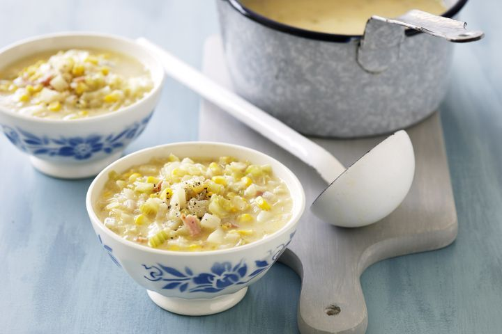 Corn and bacon chowder 1