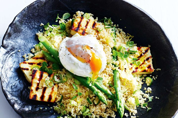 Couscous, haloumi and poached egg salad 1