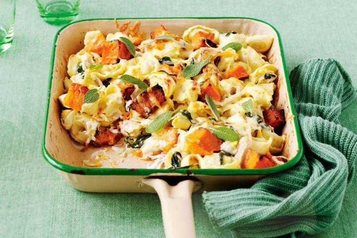 Creamy roast pumpkin and spinach tortellini 1