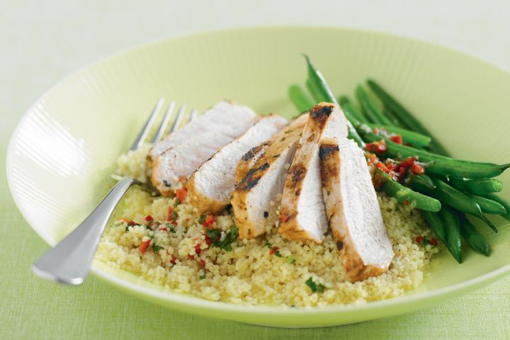 Cuban pork with coriander, couscous and green beans 1