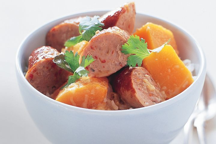 Curried sausages with pumpkin 1