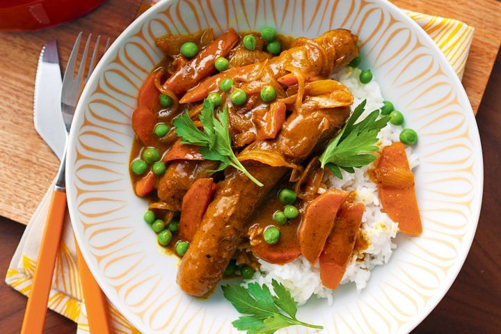 Curried sausages 1