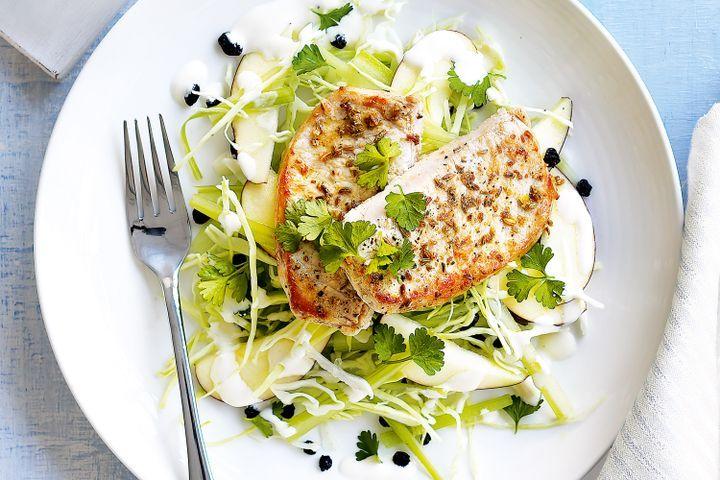 Fennel-crusted pork with waldorf salad 1