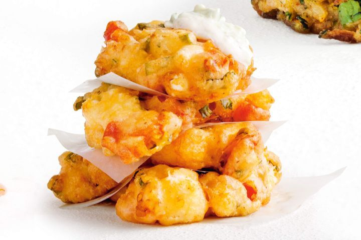 Feta, tomato and fresh mint fritters 1