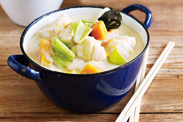 Fish and pumpkin green curry 1