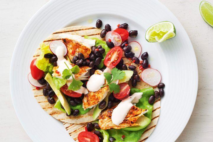 Fish fajitas with black bean and avocado salsa 1