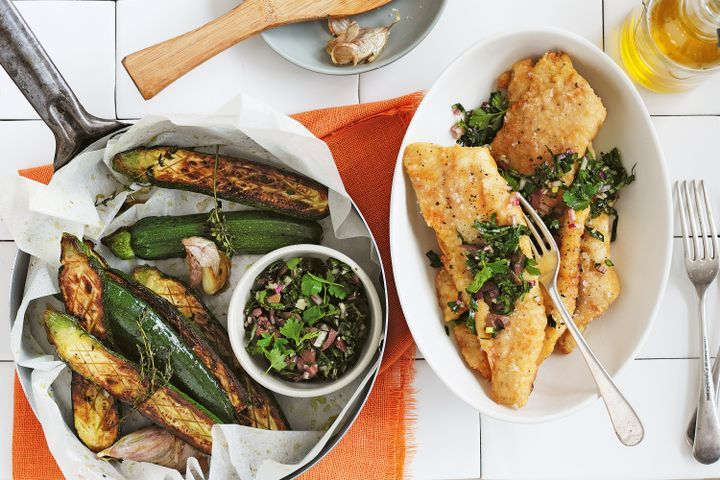 Fish fingers with herbed salsa and roasted zucchini 1