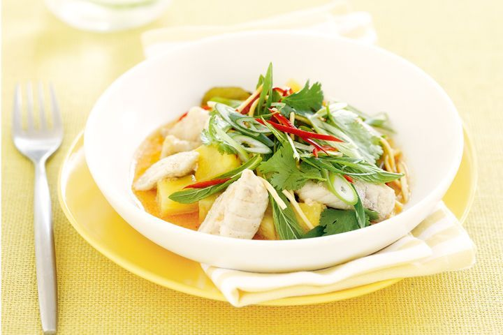 Fish poached in coconut with pineapple and crispy noodles 1