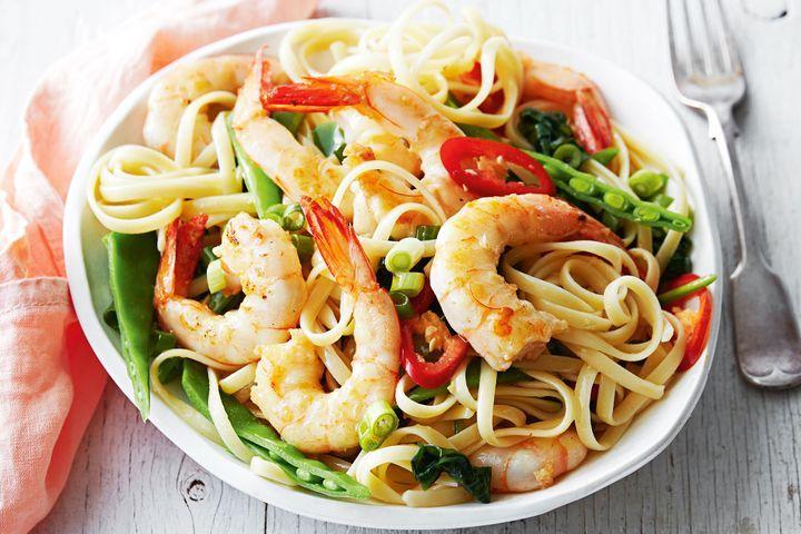 Garlic prawn and spinach pasta 1