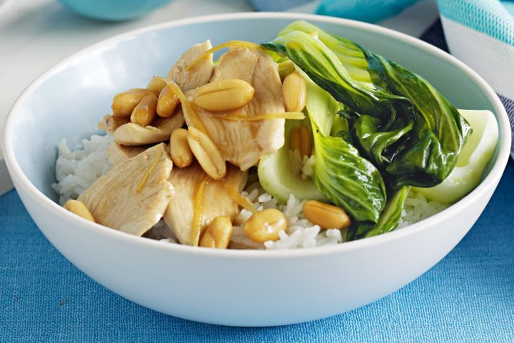 Ginger chicken with peanuts and pak choy 1
